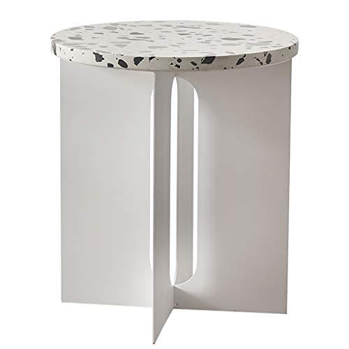 Terrazzo Couchtisch, Sofa Beistelltisch, Kleiner Bar Tisch, Moderne einfache Runde Couchtisch, 40 * 40 * 45,5 cm / 16 * 16 * 18 Zoll, Weiss