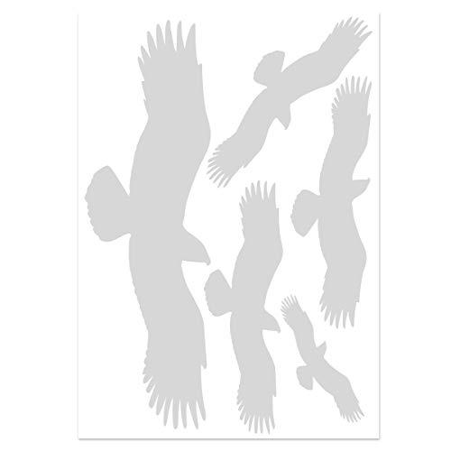 Wandkings Vogelschutz & Fensterschutz, 5 Aufkleber im Set zum Schutz vor Vogelschlag, hellgrau - erhältlich in 33 Farben