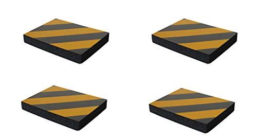 SNS SAFETY LTD Pare-chocs en Caoutchouc Mousse Adhésives, pour Protéger les Portières de Voiture en les Appliquant aux Murs dans les Garages, 4 pièces (24x18x3cm, Noir Jaune)