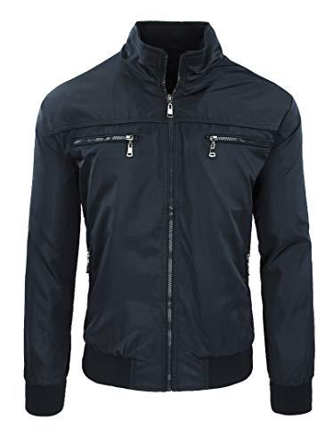Chaqueta de hombre casual Primavera Verano chaqueta sudadera moto #A2 Negro Bolsillos Frontales XXXL