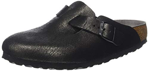 BIRKENSTOCK Damen Boston Clogs, Schwarz (Washed Metallic Antique Black Washed Metallic Antique Black), 39 EU