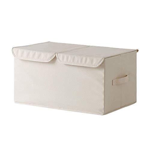 Caja de almacenamiento de cubo con asas, cajas de almacenamiento de telas Oxford con tapas, caja de almacenamiento de beige plegable para ropa de ropa, juguetes de libros DVDS lavando la organización