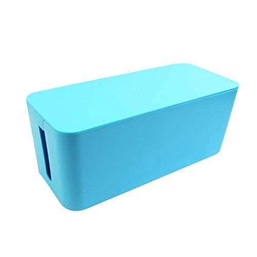 tyrrdtrd Boîte de rangement en plastique pour prise de bureau, câble de données, câble USB - Bleu - M