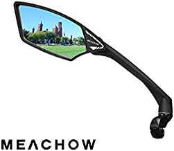 MEACHOW New Scratch Resistant Glass Lens,Handlebar Bike Mirror, Rotatable Safe Rearview Mirror, Bicycle Mirror, (Blue Left Side) ME-006LB