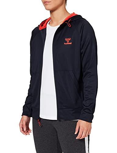 Hummel Damen Hmlaction Zip Hoodie Woman Sweatshirt, DARK SAPPHIRE/FIESTA, M