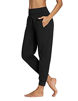 LEXISLOVE Womens Athletic Joggers Pants Yoga Sweatpants Workout Running Loose Comfy Lounge Pants for Women with Pockets Black M