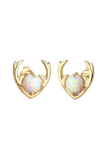 Elli Pendientes Synthetischer Opal Rentier Geweih 925 Silber