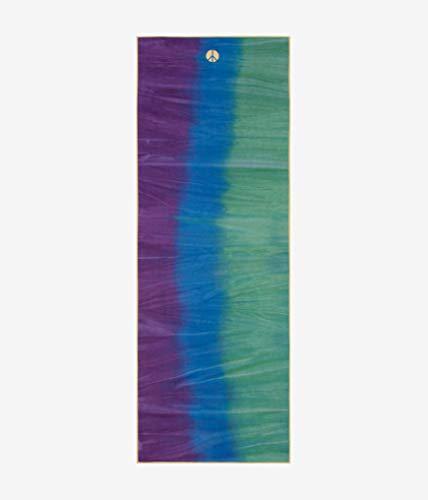 Yogitoes Manduka Yoga-Handtuch für Matte, rutschfest und schnell trocknend, für Hot Yoga, mit Gummirücken und Punkten, 172 cm lang, Pfau, dünn und leicht