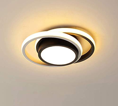 Osairous LED Lámpara de Techo, Plafón moderno 21W, 2 anillos de metal acrílico blanco para Salón, Dormitorio, Estudio, 3500K luz blanca cálida