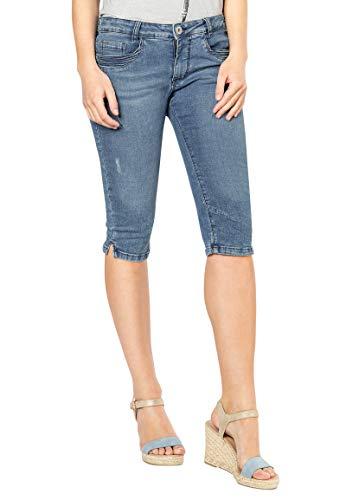 Sublevel Damen Capri Jeans-Hose mit Abnäher und 3/4 Länge Blue M