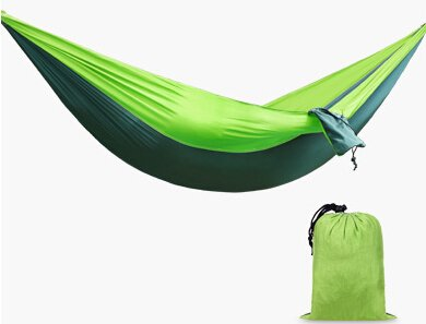 Deux-personne portable pliable léger Parachute Nylon Tissu Voyage Camping Picnic Voyage Hamac Lime & Green