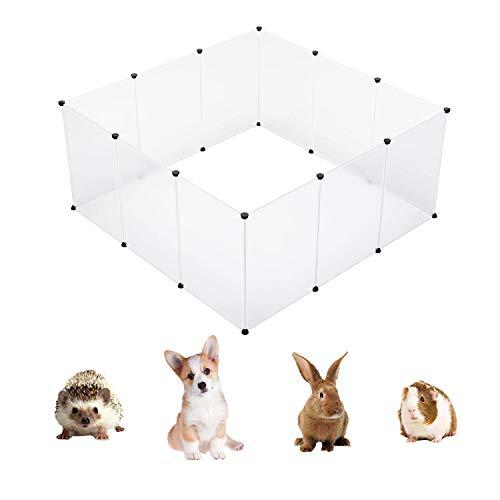 HERCOCCI Plastic Pet Playpen, DIY Modular Indoor Yard Cage Crate Kennel Fence for Puppy Kitten Rabbit Ferret GuineaPig Bunny Hedgehog, 12 Panels