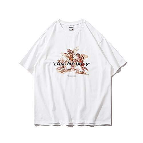 DREAMING-Camiseta de Hip-Hop, Sudadera de Verano de Manga Corta, Top Suelto de algodón con Cuello Redondo, Hombres y Mujeres White X-Large