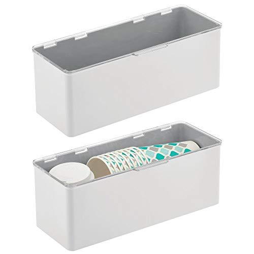 mDesign Aufbewahrungsbox aus Kunststoff für Küche, Speisekammer 5.75 x 13.4 x 5 Hellgrau/transparent