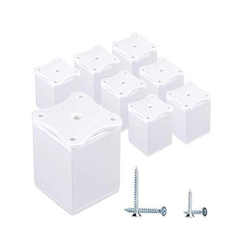 Juego de 8 patas de muebles de 6 cm de altura ajustable, perfil angular, 40 x 40 mm, material: aluminio, plástico, tornillos incluidos (8 unidades), color blanco
