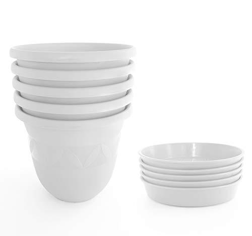 Blumentopf 5er Set 24 cm Durchmesser Weiß - runder Pflanzkübel mit Untersetzer aus Kunststoff - witterungsbeständiger Übertopf, großer Pflanztopf