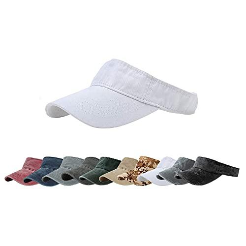 ANDICEQY Sun Visor Hats Adjustable Empty Top Baseball Cap Cotton Visors Sports for Men and Women (White)