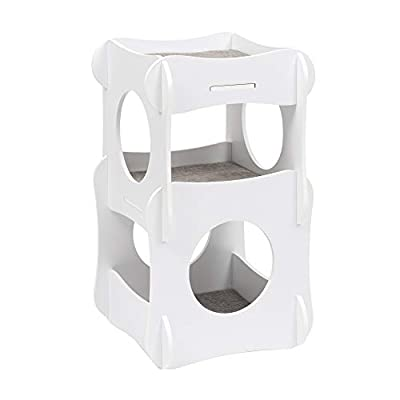 Cat Tree VESPER Condo Tower Cat Tree, White,... [tag]