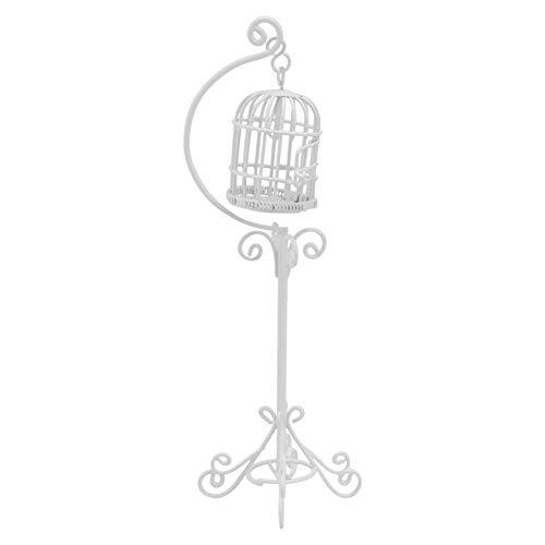 TOYANDONA Jaula de Pájaros en Miniatura Casa de Muñecas de Metal Modelo de Jaula de Pájaros con Soporte para DIY Mini Casa Exterior Escena Decoración Artesanías (Blanco)