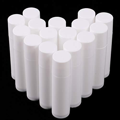 Hoiny 25 Stück Leer Kunststoff Lippenstift Tubes,Leere Lippenpflegestift Behälter für DIY Hausgemachte Lippenbalsams Nachfüllbar mit Kappe (Weiß,5ml)