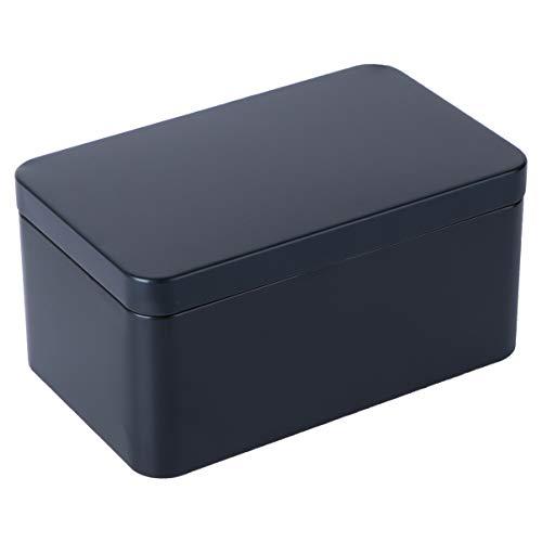 UPKOCH Blechdosen Rechteckige Metalldosen Teedose Gewürzdose Weißblech 13x8x6cm Süßigkeiten Kaffeebohnen Bonbon Tee Mini Vorratsbehälter Aufbewahrungsbox Party Favor Box Geschenk Schwarz