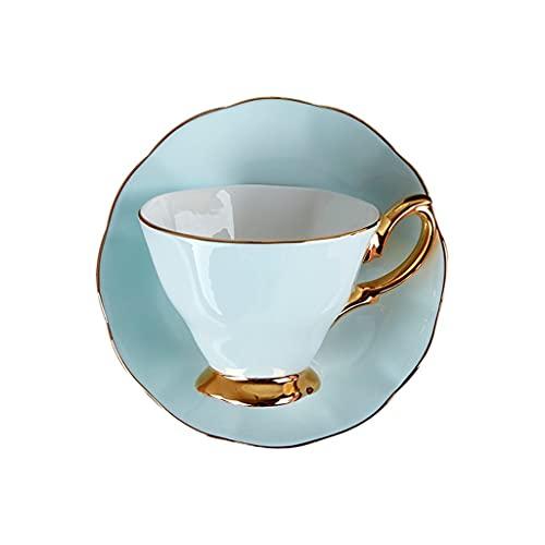 Taza de Latte Art Conjunto de té de taza de taza de café de color cerámica, juego de té de la taza de té de la tarde de la tarde del hueso de 190 ml con el asa, decoración de la sala de estar, regalo