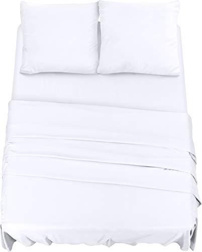 Utopia Bedding 4-Teilige Bettlaken Set, Gebürstete Microfaser, 1 x Spannbettlaken 180 x 200 cm, 1 x Bettlaken 270 x 290 cm, 2 x Kopfkissenbezüge 80 x 80 cm, Weiß