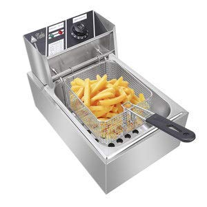 ColorJoy Electric Deep Fryer with Basket 6.3QT/6L 2500W MAX Countertop Deep Fryer Commercial Large TankStainless Steel French Fries Fryer Restaura