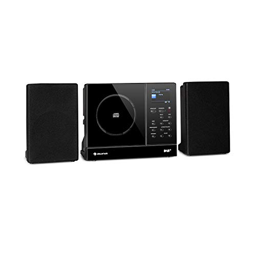 auna Connect Vertical - Internetradio, 2 x Lautsprecher (2 x 10 Watt), MP3-fähiger CD-Player, Internet/UKW/DAB+ Radiotuner, Spotify-Connect, Bluetooth-Funktion, HCC Display: 2,4' TFT, schwarz