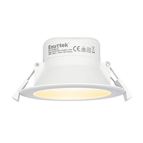 10W LED Spot Einbaustrahler Deckeneinbauleuchte Flach 230V Warmweiß 3000K Deckenloch 90-105MMΦ IP44 für Küche Bad Wohnzimmer Schlafzimmer 1er Pack von Enuotek