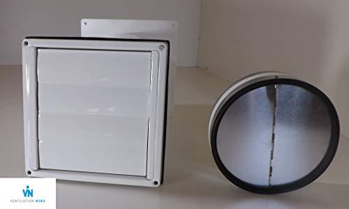 VentilationNord Mauerkasten NW150 Dunstabzug Edelstahl weiß Haube Teleskop Rohr MKWSQLE150-W (Ø150 mm)