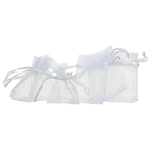 100 Pochettes / Sachets Blancs en Organza pour Bijoux, Cadeaux