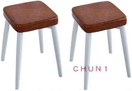 Pack-2, Lin Coton faux cuir rembourrée empilable Tabouret métal, 4 pieds carrés à manger Tabouret 46x33x33cm 114 1012 (Size : 1)