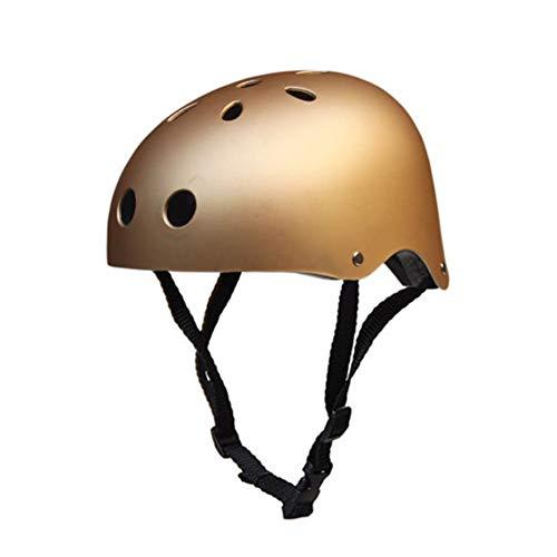 QZPDP Kinder Skateboarder Helm Fahrradhelm Integralhelm Rollerhelm für Radfahrer Skateboard Scooter Bike Sicherheit Helm,Einstellbarer Kopfumfang,Geeignet für Kinder und Erwachsene (Golden, 51~54cm)