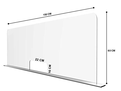 Solarplexius Spuckschutz mit Durchreiche Hustenschutz Niesschutz Virenschutz Thekenaufsatz Tischaufsatz Tresenaufsatz Antibakteriell Transparent Acrylglas (16cm | 150 x 60 cm)