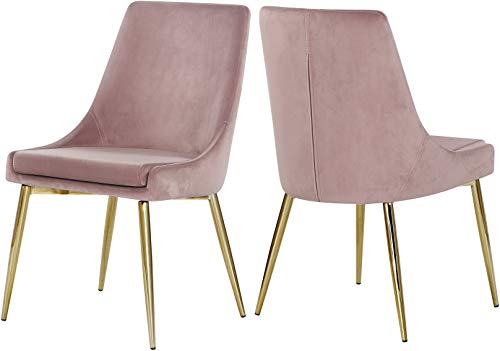 Meridian Furniture Karina Collection Modern | Contemporary Velvet Upholstered Dining Chair with Sturdy Metal Legs, Set of 2, 19.5' W x 21.5' D x 33.5' H, Pink