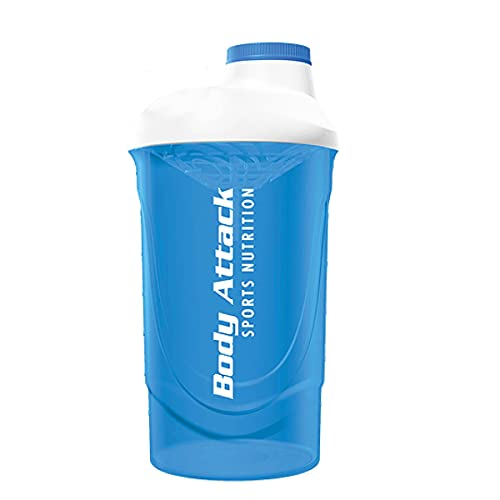 Body Attack Protein Shaker mit Sieb, Blue-White, 600ml, Fitness-Becher BPA frei, auslaufsicher und spülmaschinenfest für cremige Shakes