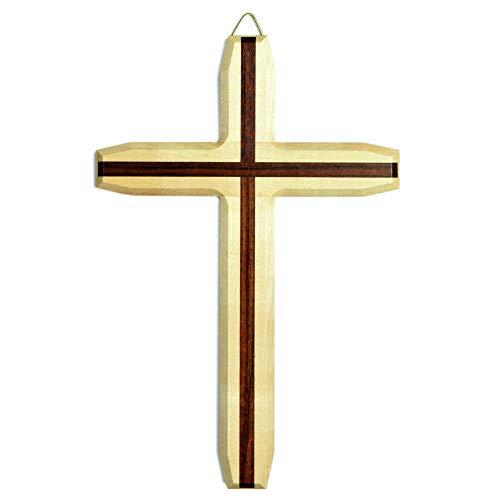 Kruzifix24 Devotionalier väggkors modern lönn natur kors inlägg trägolv mörk lackerad 25 x 17 x 1,5 cm smyckeskrin för väggen väggsmycke