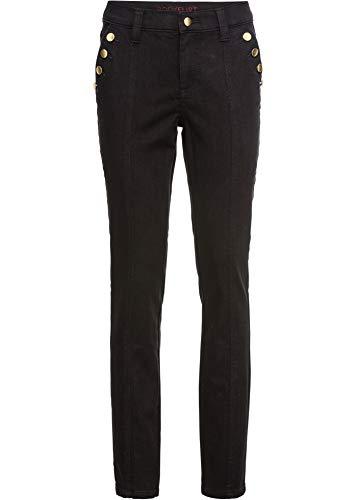 bonprix Figurbetonte Hose mit Knopfdetails schwarz lang 46 für Damen
