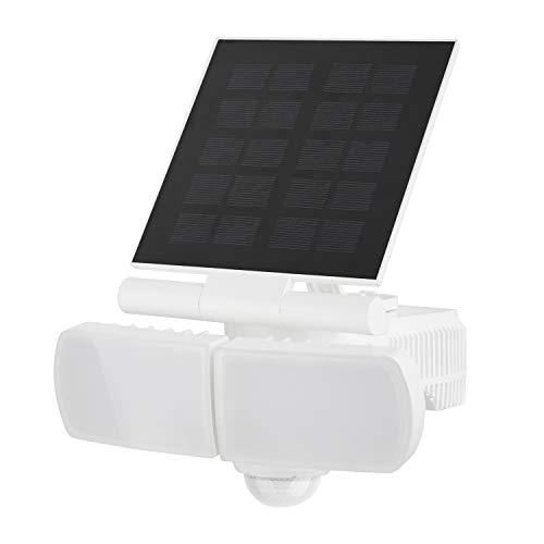 Solarleuchte Garten, Solarlampe für Außen mit bewegungsmelder, 60 LEDs Solar strahler für Terrasse, Garage und Garten, Drehbar Dual Lichtkop, 500LM, 8W, 5000K - Weiß