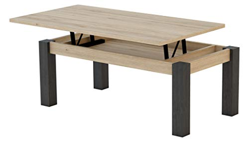 KR Decor MZ444 Mesa de Centro elevable Rectangular, Roble/Negro Madera, 100x50x42.2 cm