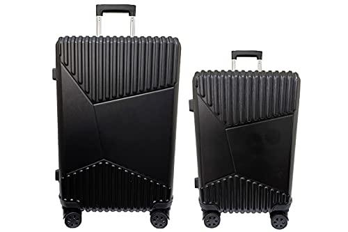Set 2pz Valigia Trolley Bagaglio a Mano ABS Rigido S/M Nero 4 Ruote Girevoli