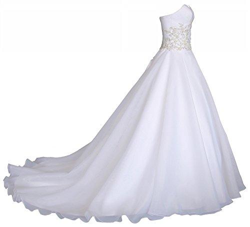 Romantic-Fashion Brautkleid Hochzeitskleid Weiß Modell W031 A-Linie Lang Satin Trägerlos Perlen Strass DE Größe 40