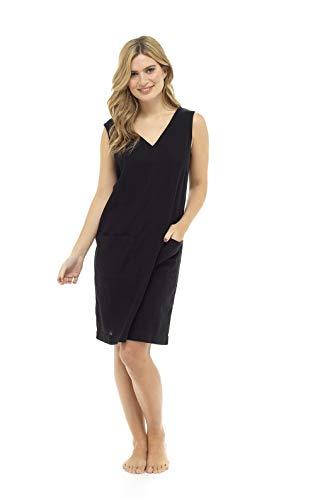 CityComfort Zomerlinnenjurk voor dames, pasjes, mouwloze V-hals, knielengte en 2 voorzakken | Petite tot Plus jurken maat damesmode verkrijgbaar (42, blauwe bloem)