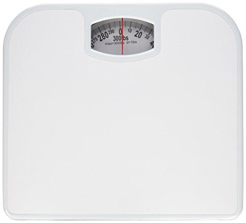 AquaPlumb BS2012 Heavy-Duty Steel Analog Bathroom Scale, 300-Pound Capacity, White