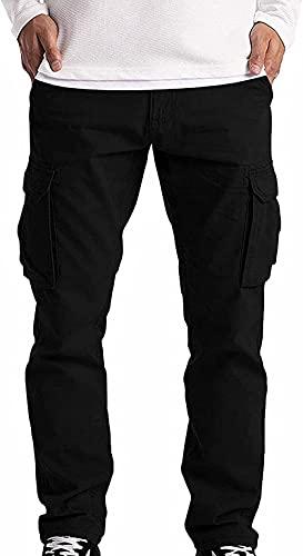 Kseyic Herren Sommer Lange Hosen Cargohose Arbeitshose Freizeithose Sweatpants, Cargo Jogging Pants,Kordelzug Einfarbig Outdoor Regular Funktions Jogginghose (Schwarz,L)