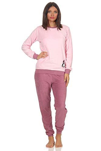 Damen Frottee Pyjama Langarm Schlafanzug mit Bündchen und süßem Pinguin Motiv - 201 13 564, Farbe:rosa, Größe2:40/42