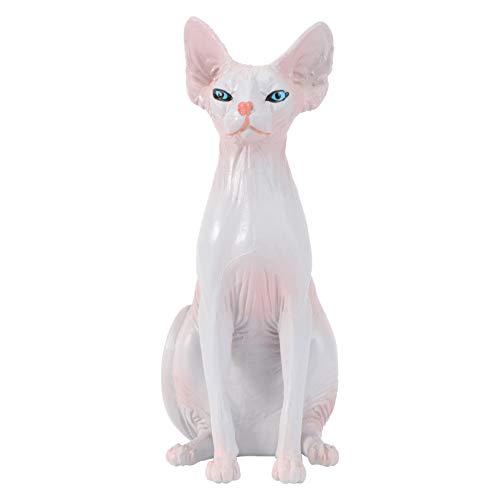 TOYANDONA Hairless Cat Figurine Cat Sitting Statue Toy Ornament Christmas Birthday Gift
