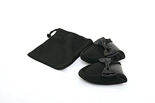 【サテンリボン】 二つ折り 携帯スリッパ ブラック 収納袋付 fy-satin 【お受験用品●ハッピークローバー】 (M)