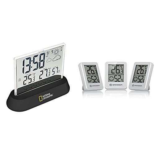 National Geographic Wetterstation Funk mit Außensensor in transparentem Design mit Anzeige & Bresser Thermometer Hygrometer Temeo Hygro Indicator 3er-Set zum Aufstellen oder zur Wandmontage